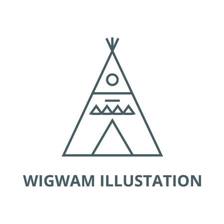 Wigwam illustation vector line icon, outline concept, linear sign