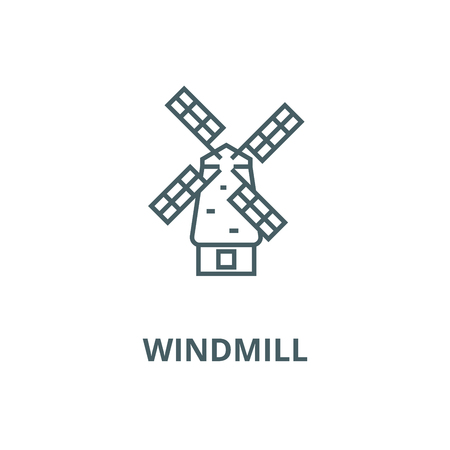 Windmill vector line icon, outline concept, linear sign