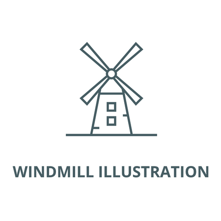 Windmill illustration vector line icon, outline concept, linear sign