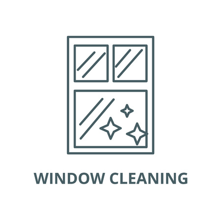 Window clean, cleaning vector line icon, outline concept, linear sign Illustration