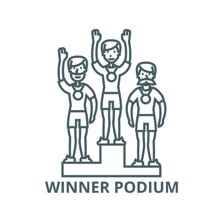 Winner podium, sport  vector line icon, outline concept, linear sign