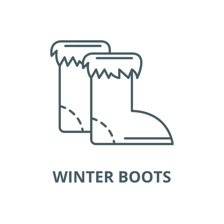 Winter boots vector line icon, outline concept, linear sign