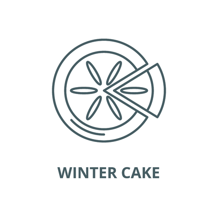 Winter cake vector line icon, outline concept, linear sign