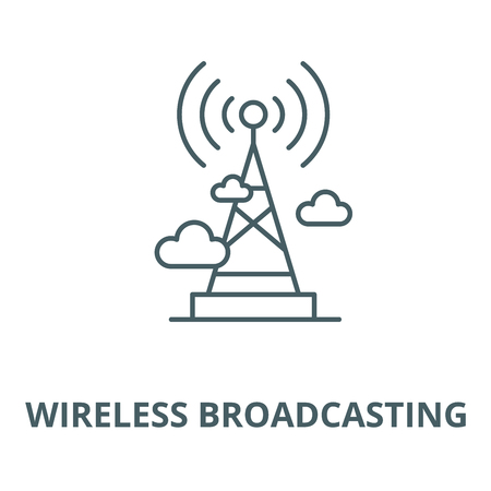 Wireless broadcasting  vector line icon, outline concept, linear sign Illustration
