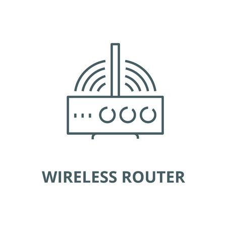 Vektorliniensymbol des drahtlosen Routers, Umrisskonzept, lineares Zeichen Vektorgrafik