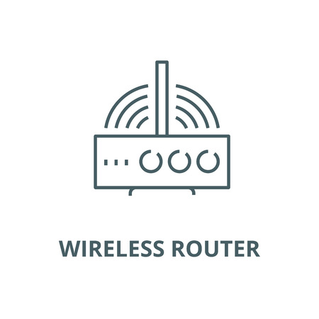 Wireless router  vector line icon, outline concept, linear sign Stock Vector - 122415615
