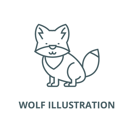 Wolf illustration vector line icon, outline concept, linear sign Ilustração
