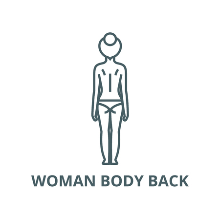 Woman body back vector line icon, outline concept, linear sign Illustration