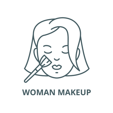 Woman makeup vector line icon, outline concept, linear sign