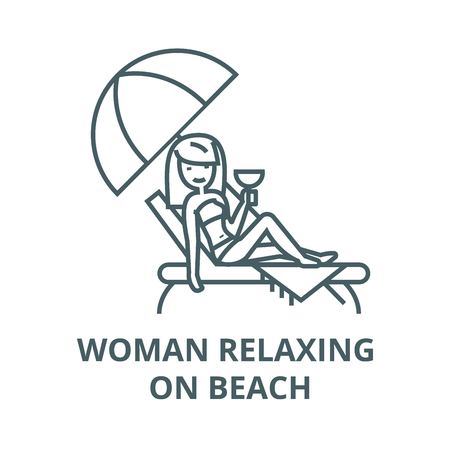 Woman relaxing on beach in sunbed  vector line icon, outline concept, linear sign