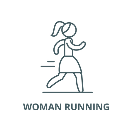 Woman running vector line icon, outline concept, linear sign