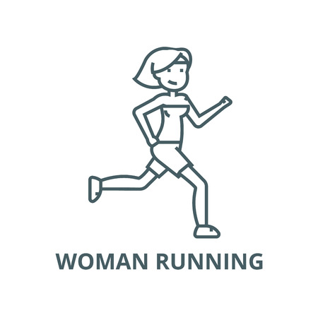 Woman running,fitness vector line icon, outline concept, linear sign Stock Vector - 122415574