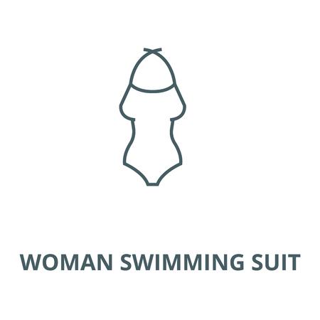 Vrouw zwemmen pak vector lijn pictogram, overzicht concept, lineair teken Vector Illustratie