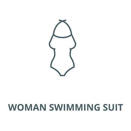 Woman swimming suit vector line icon, outline concept, linear sign
