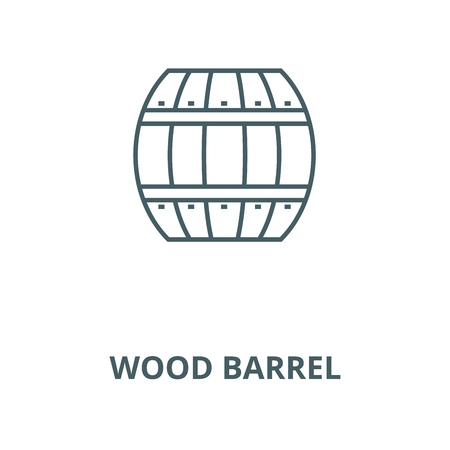 Wood barrel vector line icon, outline concept, linear sign
