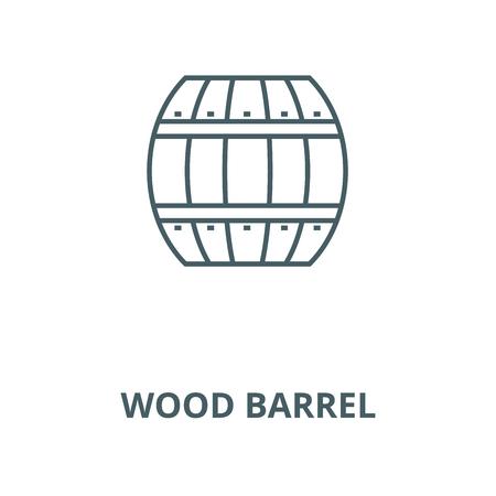 Wood barrel vector line icon, outline concept, linear sign Archivio Fotografico - 122415582