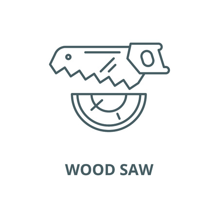 Wood saw vector line icon, outline concept, linear sign Stock Illustratie