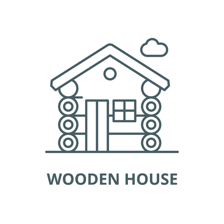 Wooden house vector line icon, outline concept, linear sign