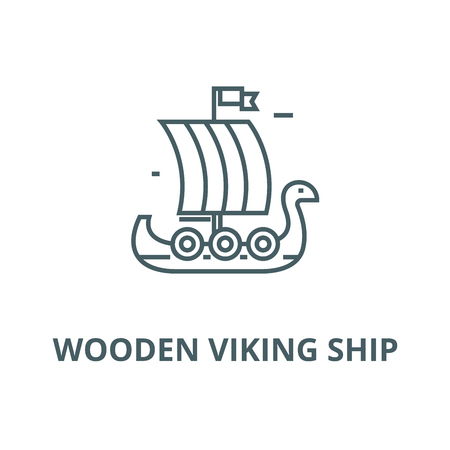 Wooden viking ship vector line icon, outline concept, linear sign Illustration