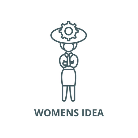 Womens idea vector line icon, outline concept, linear sign