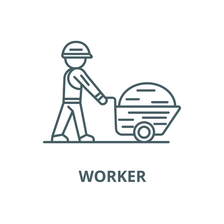 Worker builder with wheelbarrow vector line icon, outline concept, linear sign Ilustração