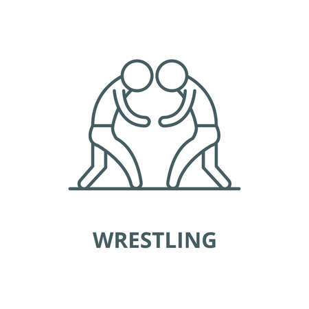 Wrestling vector line icon, outline concept, linear sign