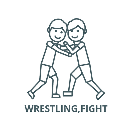Wrestling,fight vector line icon, outline concept, linear sign