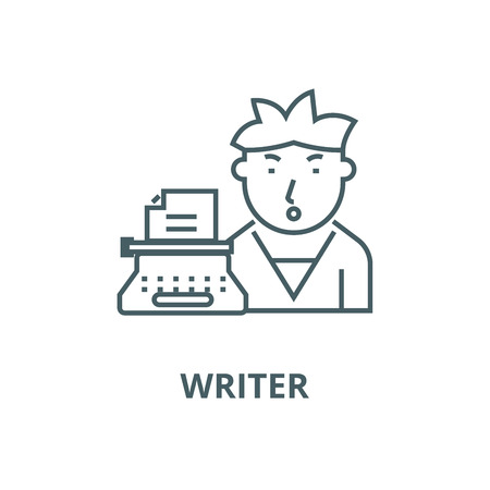 Writer vector line icon, outline concept, linear sign
