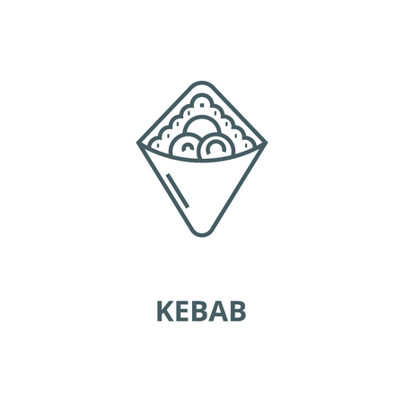 Wrap,fast food,doner kebab,toast  vector line icon, outline concept, linear sign