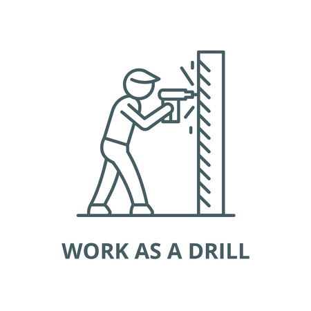 Work as a drill vector line icon, outline concept, linear sign 일러스트