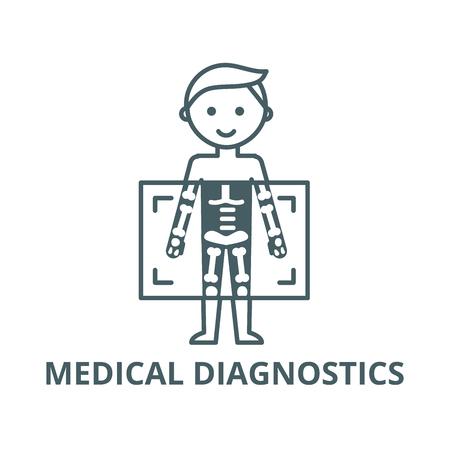 Rayos X, icono de línea de vector de hombre de diagnóstico médico, concepto de esquema, signo lineal
