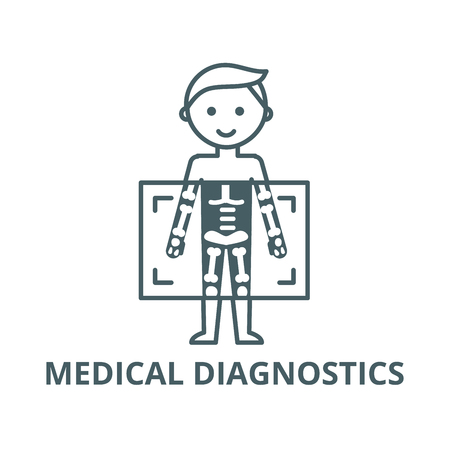 X ray,medical diagnostics man  vector line icon, outline concept, linear sign