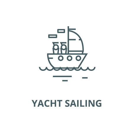 Yacht sailing vector line icon, outline concept, linear sign