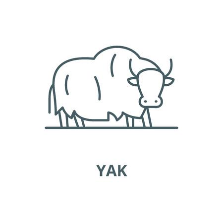 L'icône de la ligne du vecteur de yak, concept de contour, signe linéaire Vecteurs
