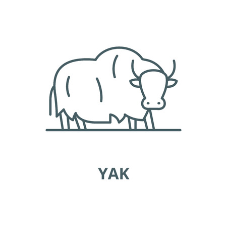 Yak vector line icon, outline concept, linear sign