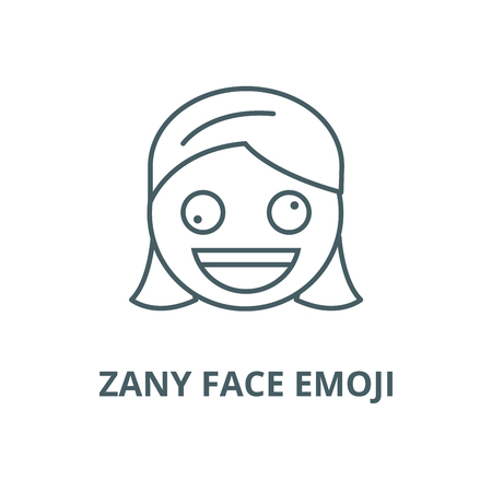 Zany face emoji vector line icon, outline concept, linear sign Stock Illustratie