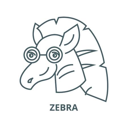 Zebra vector line icon, outline concept, linear sign Vettoriali