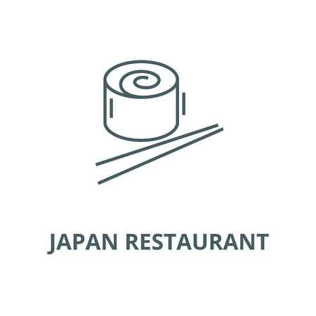 Japan restaurant, sushi roll vector line icon, outline concept, linear sign  イラスト・ベクター素材