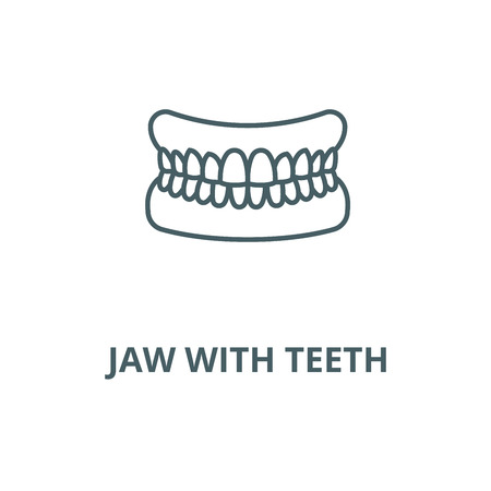 Jaw with teeth vector line icon, outline concept, linear sign