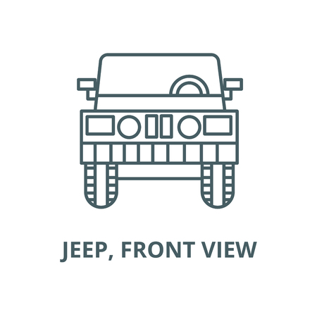 Jeep, front view vector line icon, outline concept, linear sign