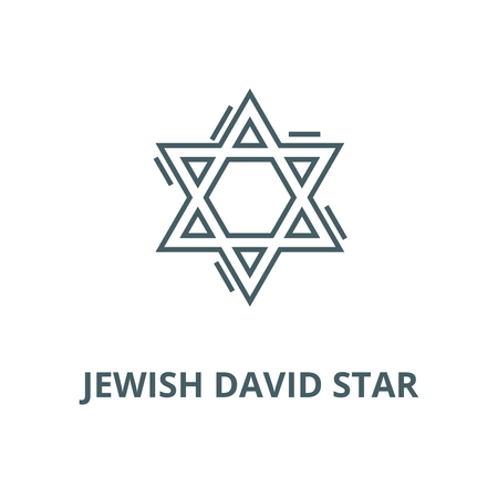 Jewish david star vector line icon, outline concept, linear sign