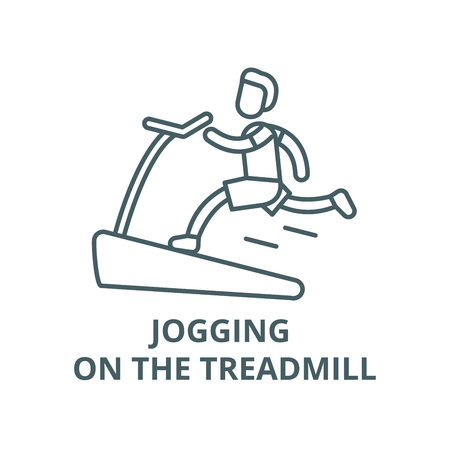 Jogging on the treadmill vector line icon, outline concept, linear sign