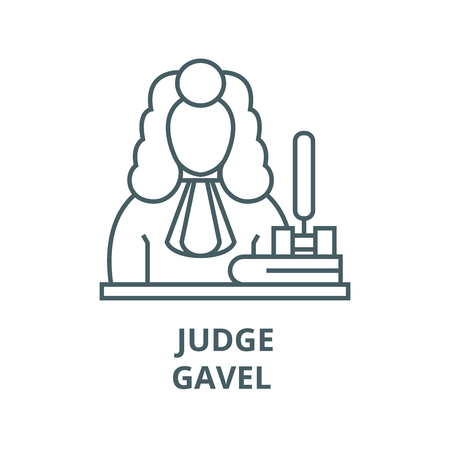 Judge,gavel  vector line icon, outline concept, linear sign