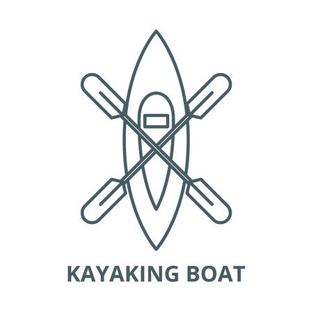 Kayaking boat vector line icon, outline concept, linear sign Illustration