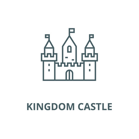 Kingdom castle wtih three towers vector line icon, outline concept, linear sign