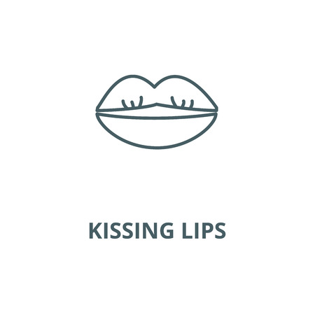 Kissing lips vector line icon, outline concept, linear sign