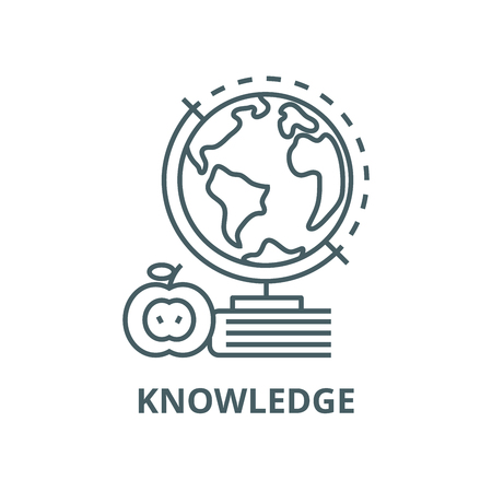 Knowledge,book,apple,globus vector line icon, outline concept, linear sign Ilustracja