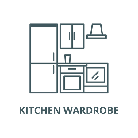 Kitchen wardrobe vector line icon, outline concept, linear sign