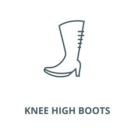 Knee high boots vector line icon, outline concept, linear sign