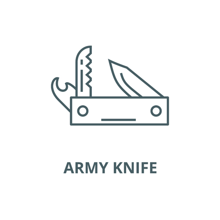 Knife army, multipurpose tool,swiss  vector line icon, outline concept, linear sign Çizim